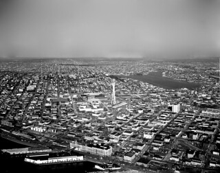 Aerial of World's Fair grounds, 1962