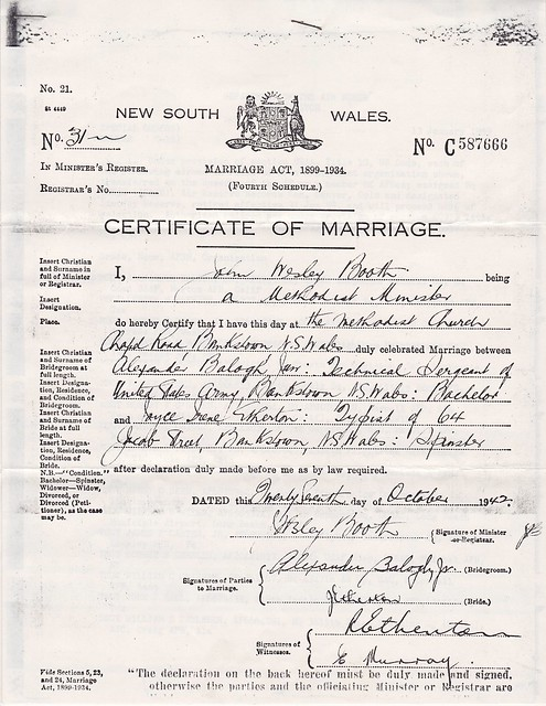 WWII MSgt Alexander Balogh Joyce Etherton 39s Marriage Certificate