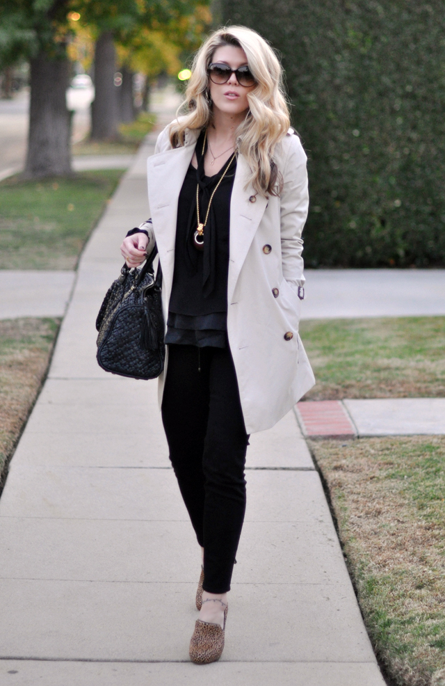 black on black with trench  -animal print shoes