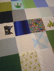 Embroidered Squares with Fabric Ones