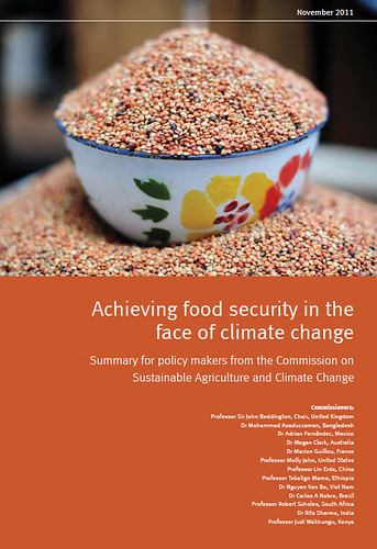 Cover of recommendations produced Nov 2011 by CCAFS/Commission on Sustainable Agriculture and Climate Change