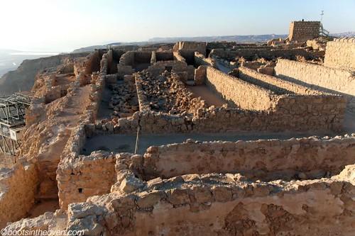 Crumbling storehouses on Masada