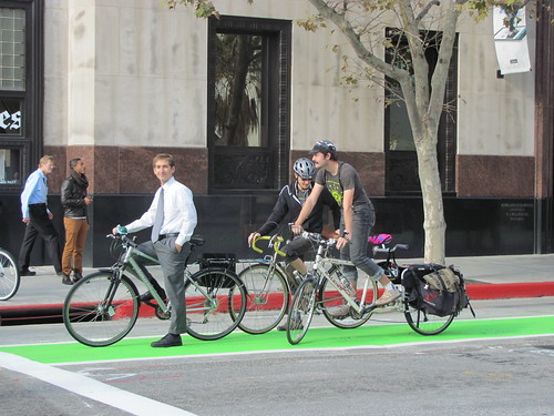 Riding the Spring Street Green Bike Lane