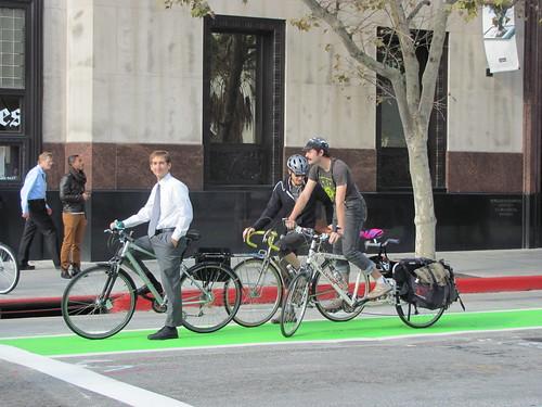 Riding the Spring Street Green Bike Lane
