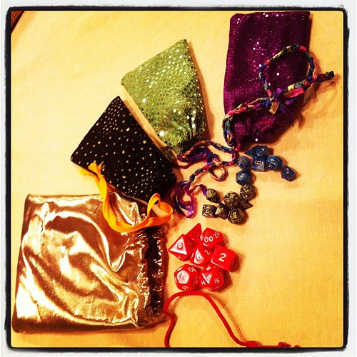Tink made custom dice bags for everyone. We are a geek family and proud.