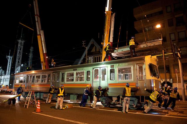 伊予鉄道3000系 3009F クハ3309・モハ3109 搬入