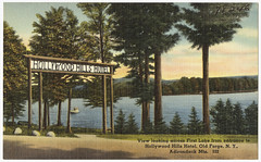 Hollywood Hills Hotel. View looking across First Lake from entrance to Hollywood Hills Hotel, Old Forge, N. Y., Adirondack Mts.