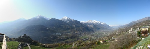 panorama snow mountains alps castle view pano valle mount valley vista alpi castello valledaosta saintdenis cylindrical hugin cly emilius