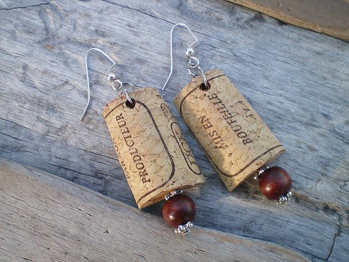 Cork and Bead Earrings