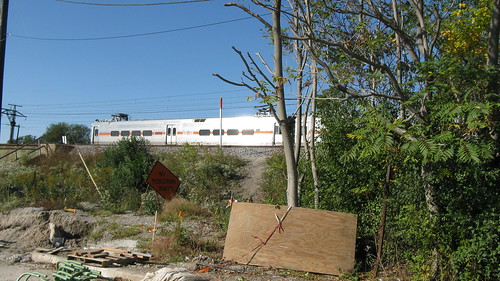 Northbound Chicago, South Shore And South Bend train passing through. Chicago Illinois USA. Saturday, October 15th, 2011. by Eddie from Chicago