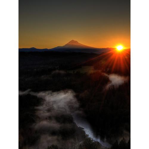 trees sun clouds oregon sunrise river landscape fisherman sandy valley mthood flare sunflare herowinner ultraherowinner