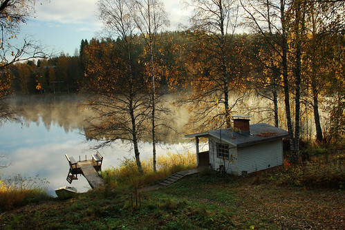 morning travel autumn trees light shadow sunlight mist lake reflection fall nature composition digital forest canon suomi finland landscape photography boat scenery europe outdoor north cottage platform scene nordic trunks scandinavia northern autumnal sauna photooftheday picoftheday northerneurope pirkanmaa westernfinland bestoftheday canoneos1000d