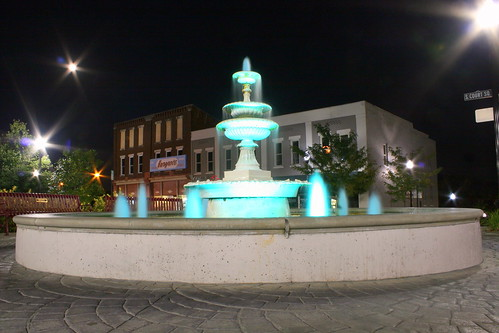 McMinnville Park Fountain at Night
