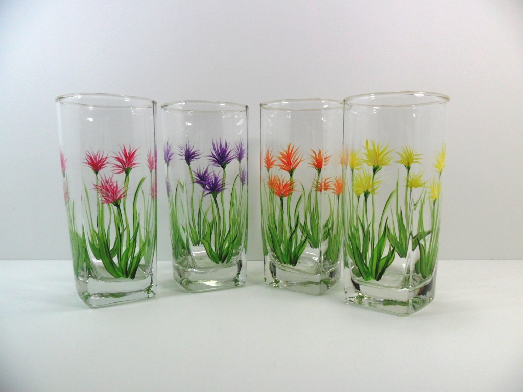 Beverage Glasses Hand Painted Thistle Set of 4