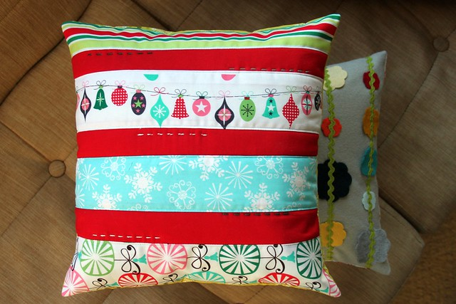 Quilted Stripes Christmas Pillow