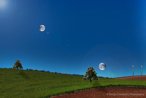 landscape compositions surreal luna cielo terra albero hdr paesaggio collina composizione surreale palaeolica dcimage