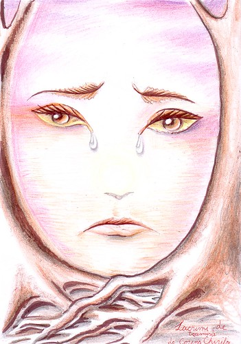Tristete si lacrimi de toamna - Emotie de toamna - Autumn emotion leafs and tears -sadness portrait drawing