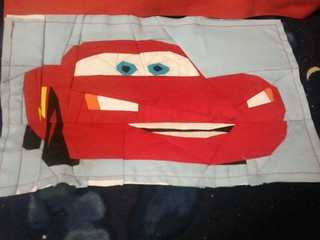 Lightning mcqueen paper pieced block...pattern by liljabs on fandom in stitches