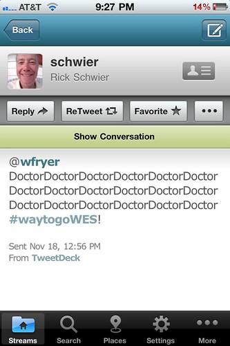 Twitter Kudos from Rick Schwier