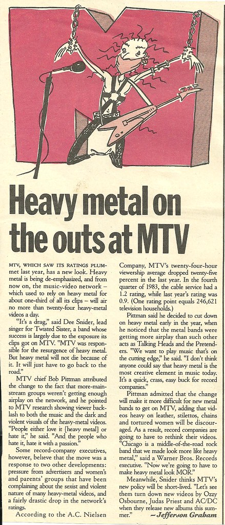 04-11-85 Rolling Stone Magazine (Heavy Metal On The Outs At MTV)