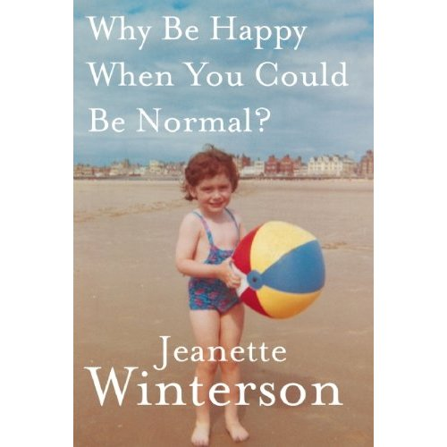 Cover of Jeanette Winterson memoir, author as a young girls standing on an English beach holding a beachball