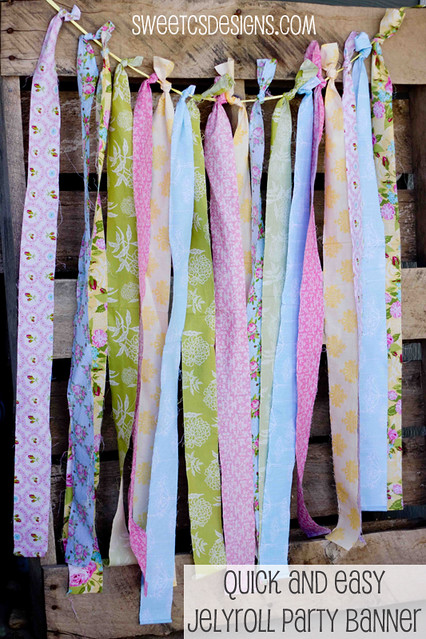 jellyroll banner- an awesome and inexpensive way to decorate for a party, plus you can use the jellyroll strips when the party is done. Genius! #party #fabric