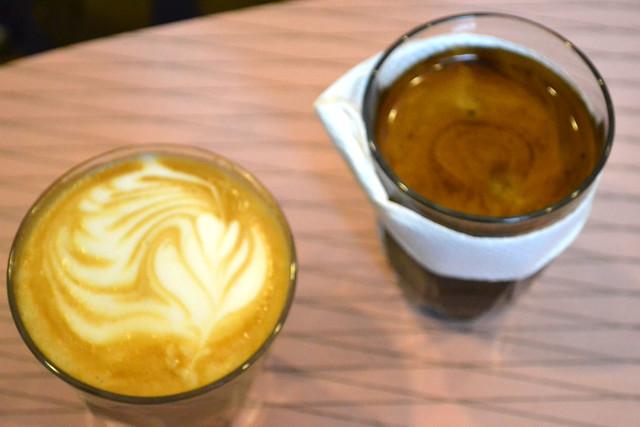 Latte and Long Black at Papa Palheta