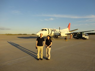 Richard and Kayoko on the tarmac in Sapporo