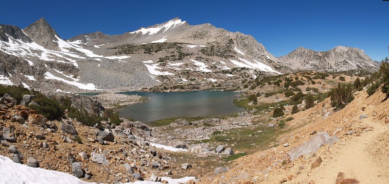 Bishop Pass Trail panorama - Bishop Lake, Mount Goode, and Hurd Peak