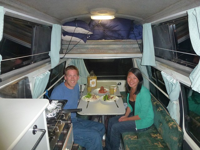 Our posh seafood meal in the campervan