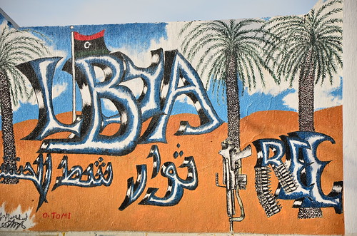 Libya flag graffiti