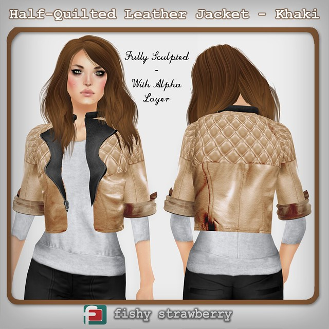 Half-Quilted Leather Jacket - Khaki