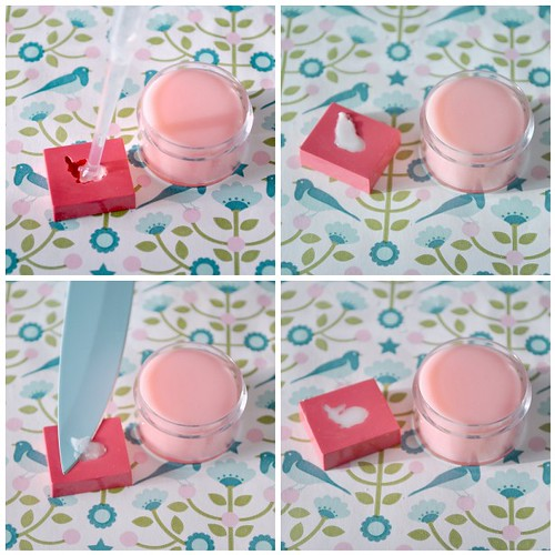 Hand-made strawberry lip balm - steps 9-12