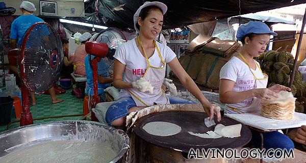 Thai popiah skins, freshly made