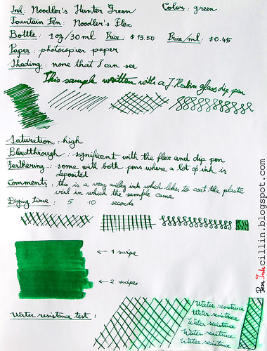 Noodler's Hunter Green - Photocopy