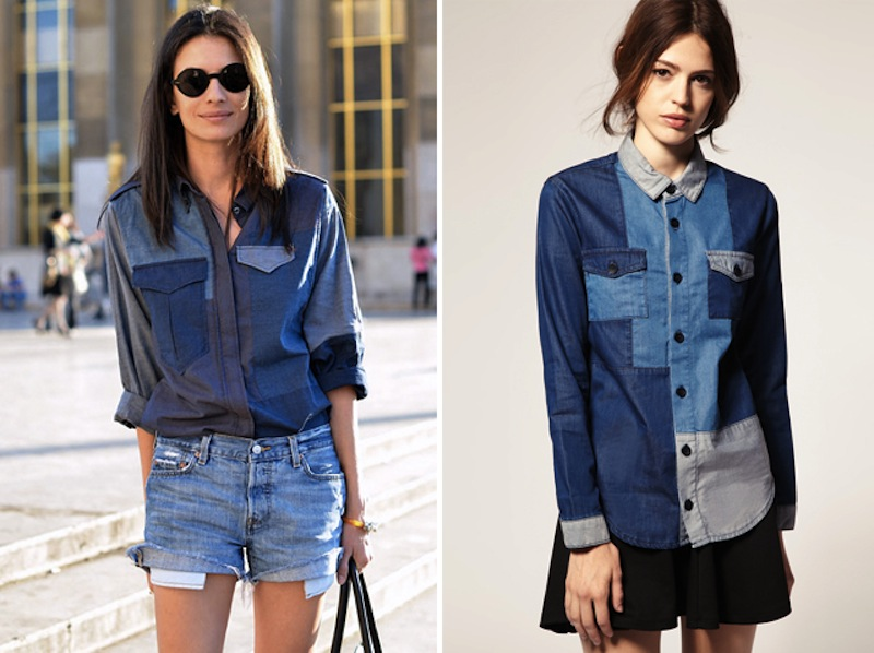 isabel marant ASOS denim patchwork shirt