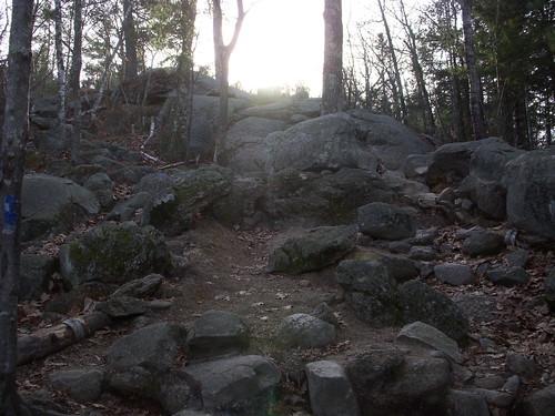 Trail up Mt Major on Lake Winnipesaukee