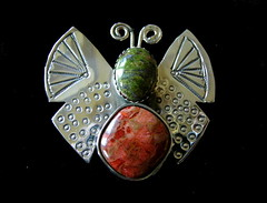 Unakite Apple Coral Butterfly Pendant A 2