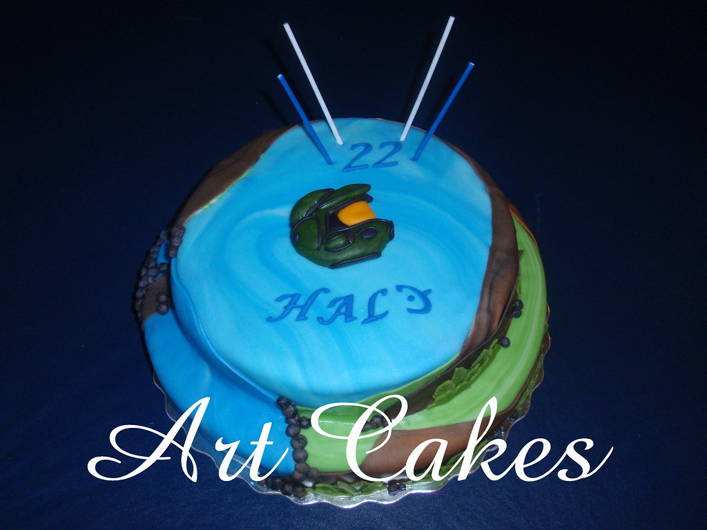 Magnificent Halo Birthday Cake Nora Rexach Flickr Funny Birthday Cards Online Alyptdamsfinfo