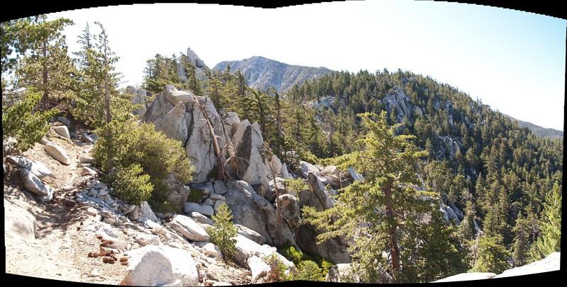 Panorama shot looking along Fuller Ridge with San Jacinto in the distance