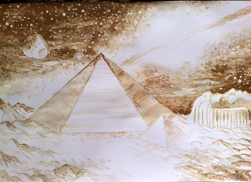 Piramidele si fata din zona Cydonia de pe Marte pictura facuta cu cafea - Coffee painting of the pyramids on mars