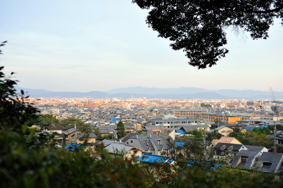 From the Temple grounds you can see back towards Kyoto city