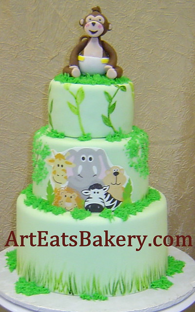 6249820215 bff26f11fa - Baby shower monkey theme cakes ...