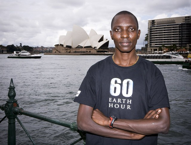 Kenyan Athlete and Earth Hour ambassador Asbel Kiprop in Sydney