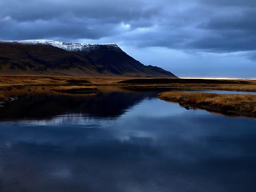 autumn sky reflection fall clouds river landscape iceland dusk akrafjall laxá leirársveit grunnafjörður