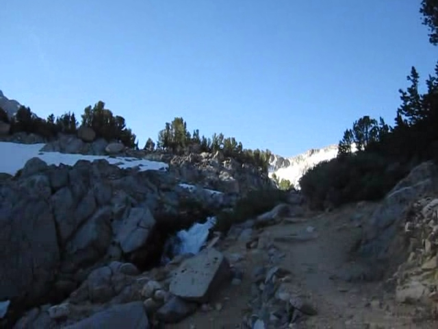0315 Bishop Pass Trail - South Fork Bishop Creek flowing into Timberline Tarn video