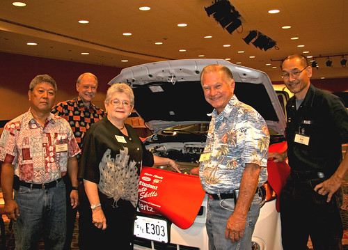 <p>Leeward Community College hybrid car display<br /> <br /> Assistant professor Rodney Hirokawa, Vice President John Morton, UH President M.R.C. Greenwood, Professor Jacob Darakjian, Professor Eric Pang with</p>