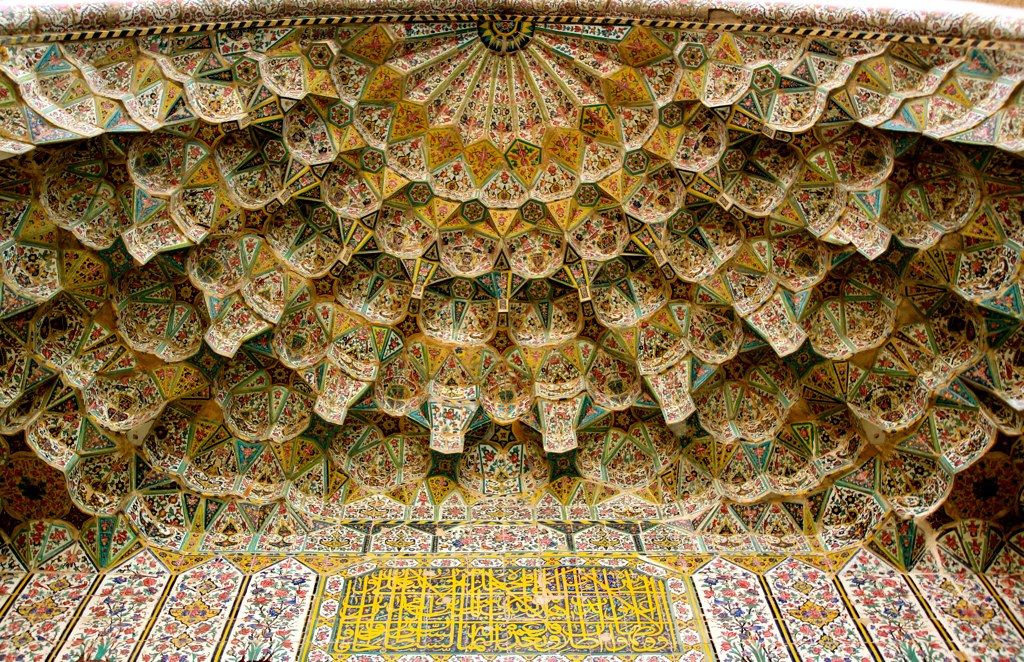 Vakil Mosque Colorful Ceiling Tiles of one of it's Iwan's