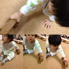ブーブーで遊ぶとらちゃん(2011/11/19)