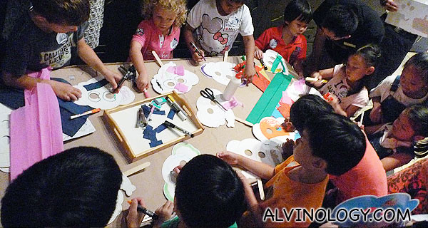 Children's activity corner where they were making elephant masks